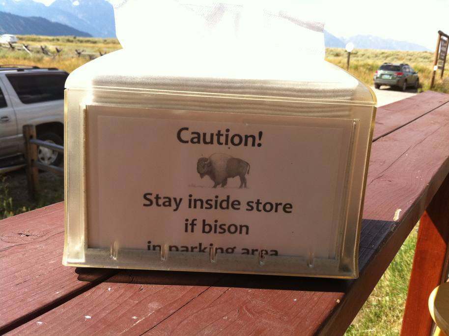 In case you wonder if you're in the West, take heed to the napkin holder warning in the Town of Kelly, lol.