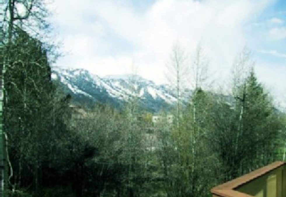 Magnificent mountain view in the Spring, facing North towards Teton Village from our rear deck.